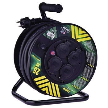 Prodlužovací kabel PROFI na bubnu 25m / 3x2,5mm gumový / 4 zásuvky